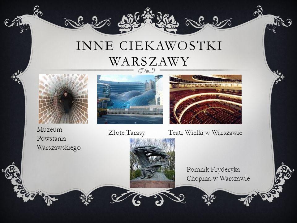 INNE CIEKAWOSTKI WARSZAWY Muzeum Powstania Warszawskiego Złote TarasyTeatr Wielki w Warszawie Pomnik Fryderyka Chopina w Warszawie