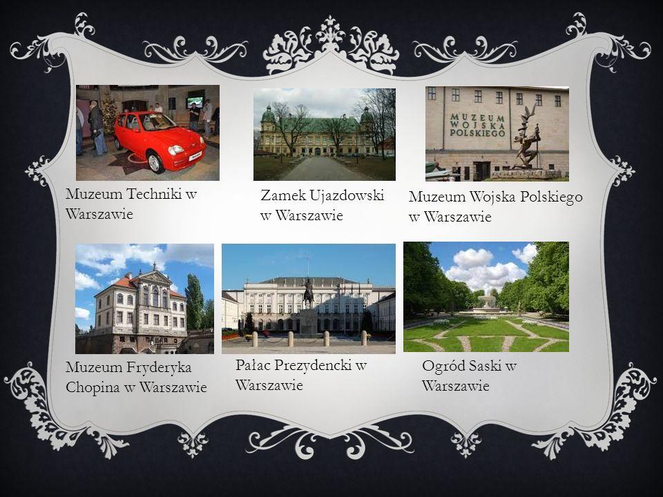 Muzeum Techniki w Warszawie Zamek Ujazdowski w Warszawie Muzeum Wojska Polskiego w Warszawie Muzeum Fryderyka Chopina w Warszawie Pałac Prezydencki w