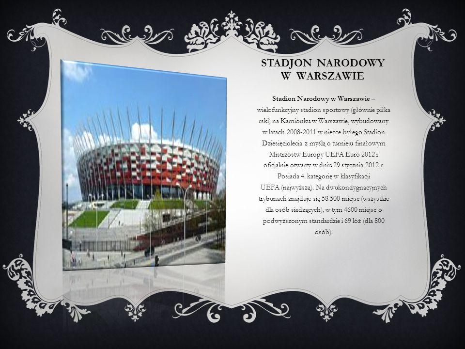 STADJON NARODOWY W WARSZAWIE Stadion Narodowy w Warszawie – wielofunkcyjny stadion sportowy (głównie piłka rski) na Kamionku w Warszawie, wybudowany w