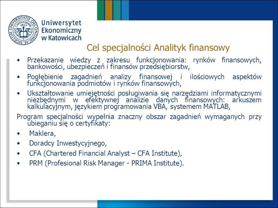 PrzedmiotSemestr Punkty ECTS Ilość godzin ĆwiczeniaWykład Rynek instrumentów finansowych4415/-30/21 Metody i algorytmy optymalizacji5430/1215/9 Zaawansowane wykorzystanie arkusza kalkulacyjnego w finansach 5430/1815/- Sprawozdawczość finansowa5430/-30/18 Techniczna i fundamentalna analiza instrumentów finansowych 6415/1830/- Analiza i modelowanie ryzyka finansowego6315/930/9 Prognozowanie w finansach i bankowości6430/1830/- Przedmioty specjalnościowe: