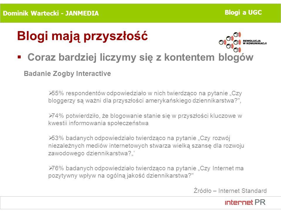 Dominik Wartecki - JANMEDIA Blogi a UGC Blogi mają przyszłość Coraz bardziej liczymy się z kontentem blogów Badanie Zogby Interactive 55% respondentów