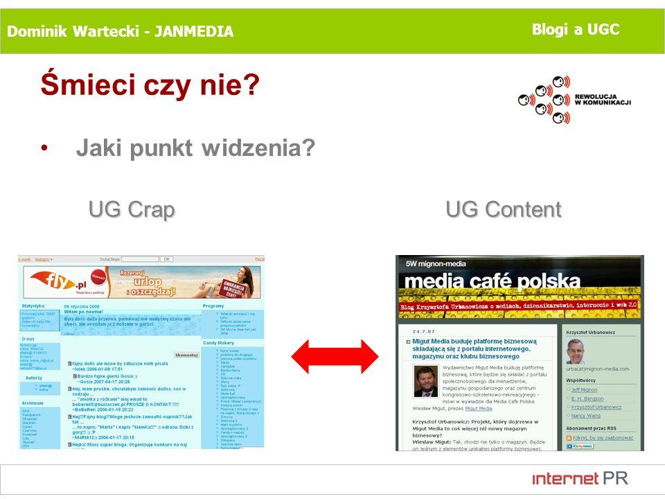 Dominik Wartecki - JANMEDIA Blogi a UGC Śmieci czy nie? Jaki punkt widzenia? UG Crap UG Content
