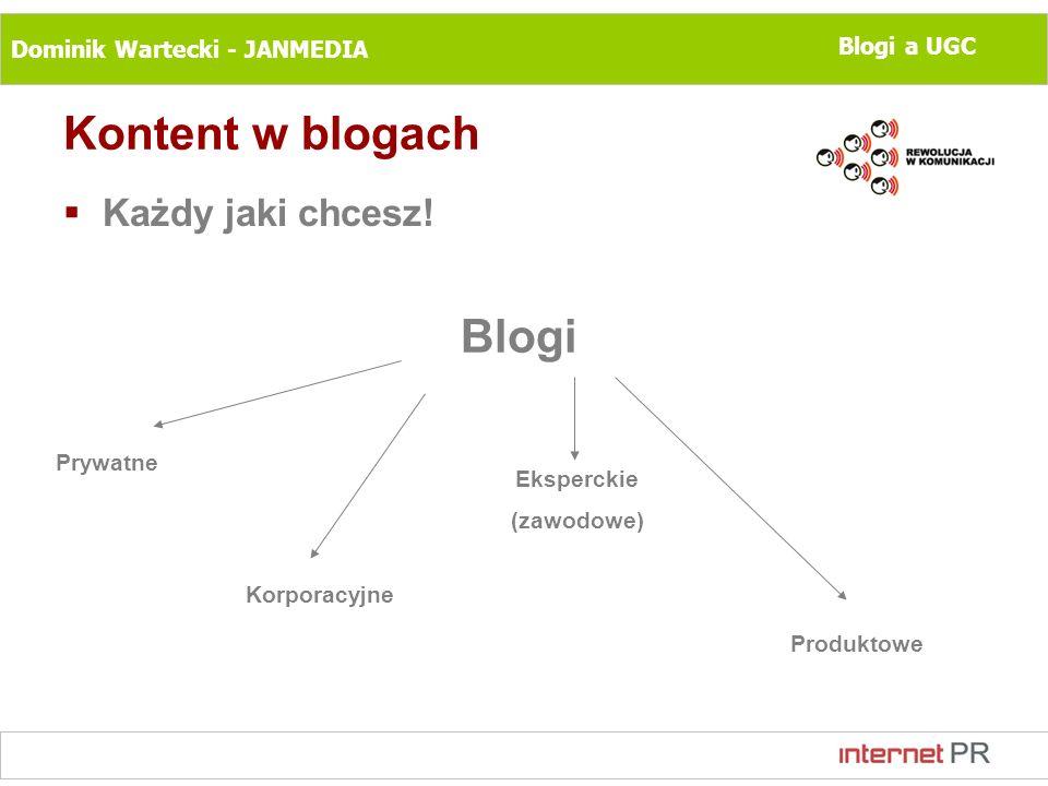 Dominik Wartecki - JANMEDIA Blogi a UGC Kontent w blogach Każdy jaki chcesz! Blogi Prywatne Korporacyjne Eksperckie (zawodowe) Produktowe