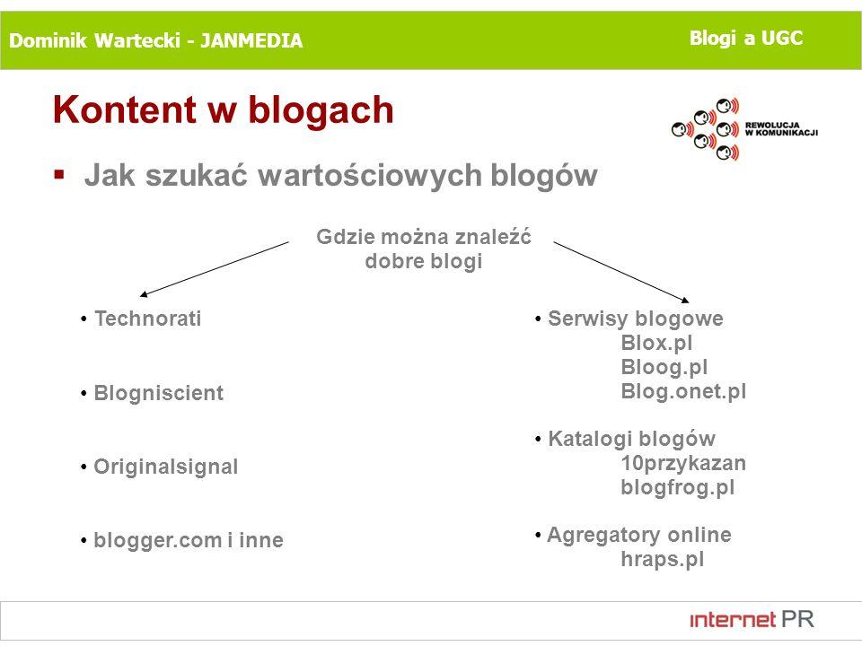 Dominik Wartecki - JANMEDIA Blogi a UGC Kontent w blogach Jak szukać wartościowych blogów Gdzie można znaleźć dobre blogi Technorati Blogniscient Orig