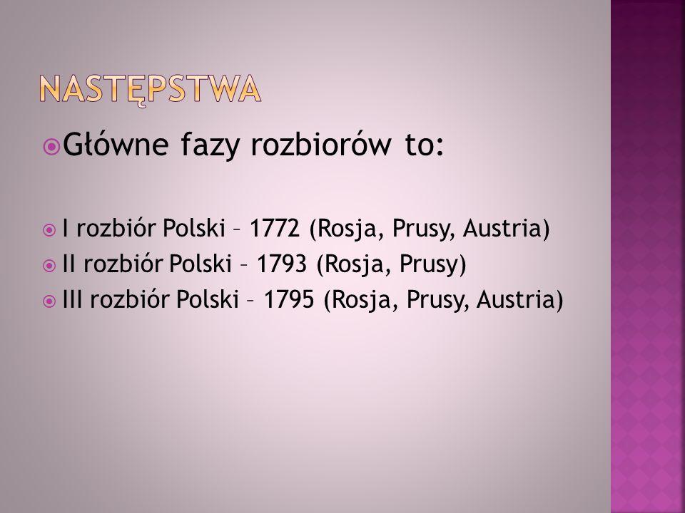 Główne fazy rozbiorów to: I rozbiór Polski – 1772 (Rosja, Prusy, Austria) II rozbiór Polski – 1793 (Rosja, Prusy) III rozbiór Polski – 1795 (Rosja, Pr