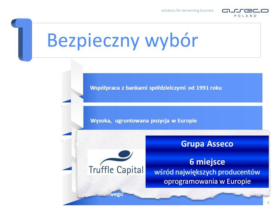 solutions for demanding business 4 Bezpieczny wybór Współpraca z bankami spółdzielczymi od 1991 rokuWysoka, ugruntowana pozycja w Europie Kompetencje