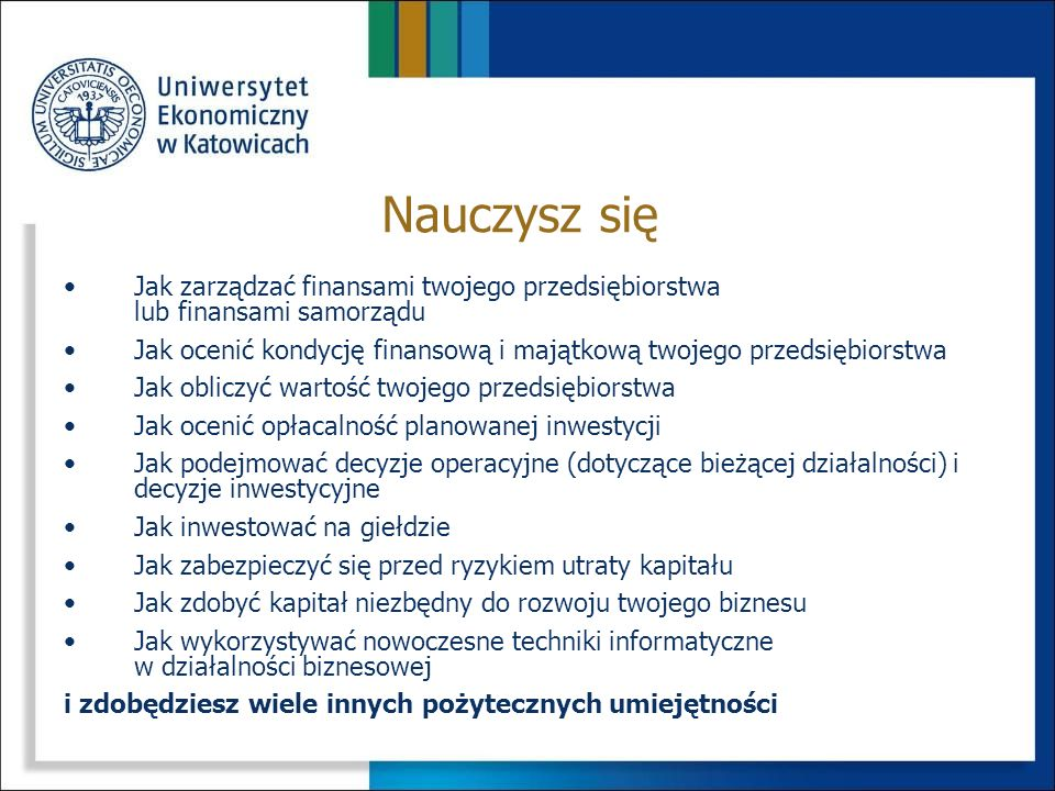 PrzedmiotSemestr Punkty ECTS Ilość godzin ĆwiczeniaWykład Rachunek wyników4415/-15/15 Zarządzanie projektami5430/-30/21 Inwestycje sektora publicznego