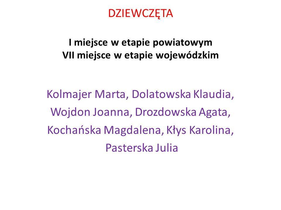 DZIEWCZĘTA I miejsce w etapie powiatowym VII miejsce w etapie wojewódzkim Kolmajer Marta, Dolatowska Klaudia, Wojdon Joanna, Drozdowska Agata, Kochańska Magdalena, Kłys Karolina, Pasterska Julia
