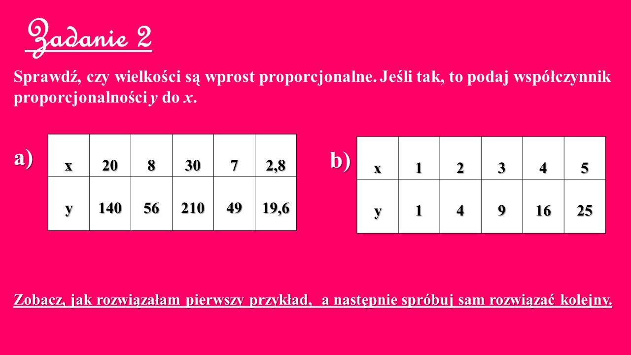 Zadanie 2 Sprawdź, czy wielkości są wprost proporcjonalne. Jeśli tak, to podaj współczynnik proporcjonalności y do x. x2083072,8 y140562104919,6 x1234