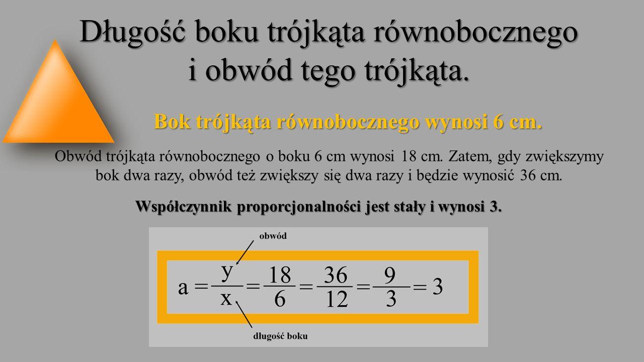 Długość boku trójkąta równobocznego i obwód tego trójkąta. Bok trójkąta równobocznego wynosi 6 cm. Obwód trójkąta równobocznego o boku 6 cm wynosi 18