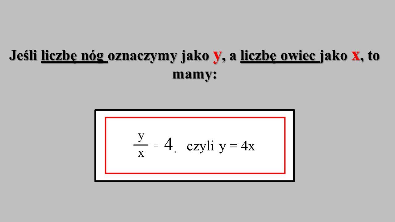 Jeśli liczbę nóg oznaczymy jako y, a liczbę owiec jako x, to mamy: