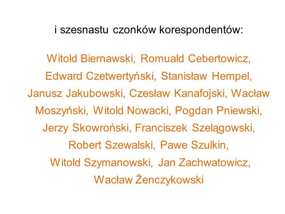 i szesnastu czonków korespondentów: Witold Biernawski, Romuald Cebertowicz, Edward Czetwertyński, Stanisław Hempel, Janusz Jakubowski, Czesław Kanafoj