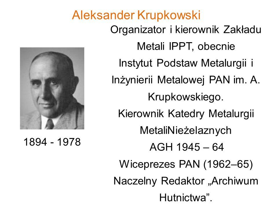 Aleksander Krupkowski 1894 - 1978 Organizator i kierownik Zakładu Metali IPPT, obecnie Instytut Podstaw Metalurgii i Inżynierii Metalowej PAN im. A. K