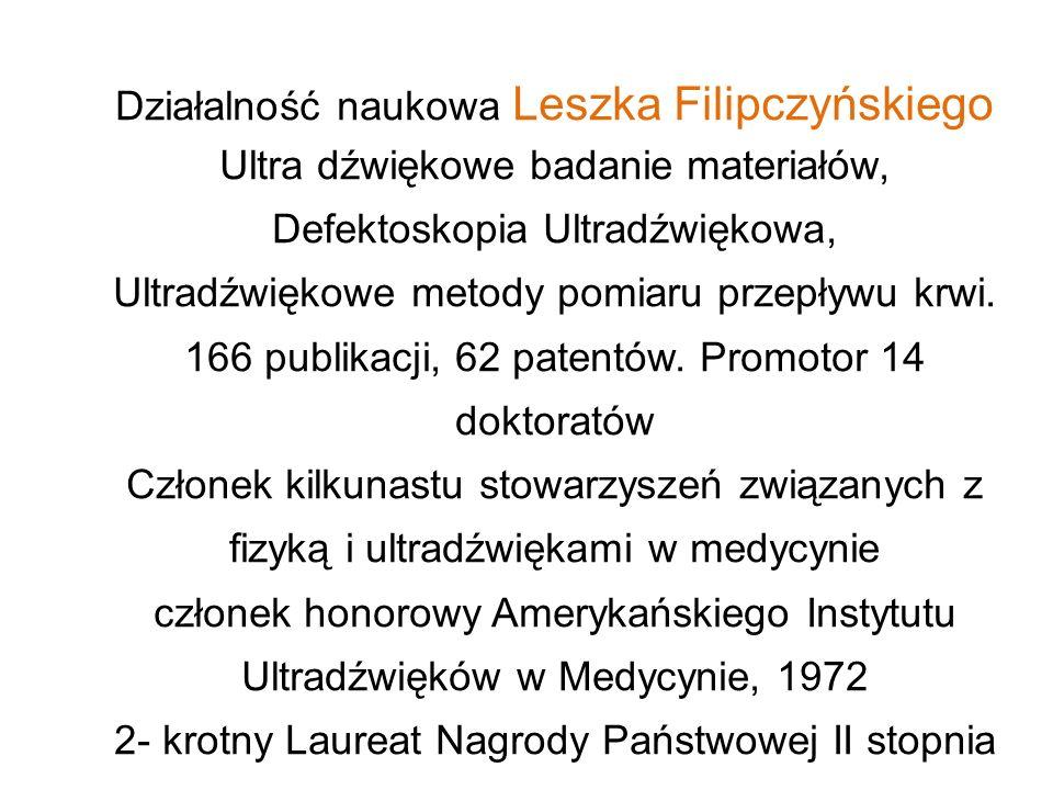 Działalność naukowa Leszka Filipczyńskiego Ultra dźwiękowe badanie materiałów, Defektoskopia Ultradźwiękowa, Ultradźwiękowe metody pomiaru przepływu k