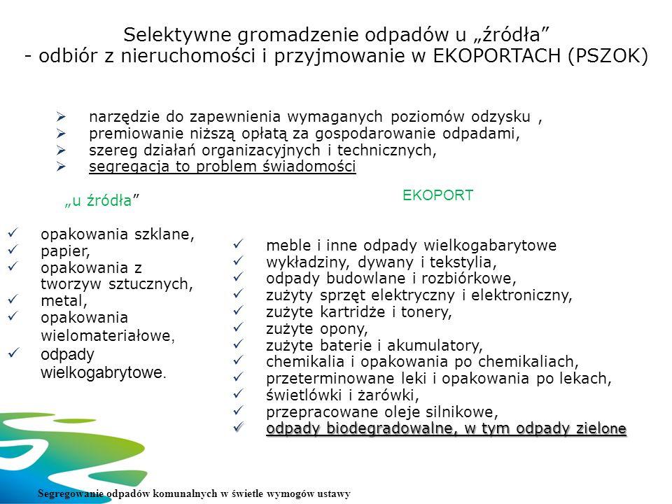 Selektywne gromadzenie odpadów u źródła - odbiór z nieruchomości i przyjmowanie w EKOPORTACH (PSZOK) narzędzie do zapewnienia wymaganych poziomów odzy
