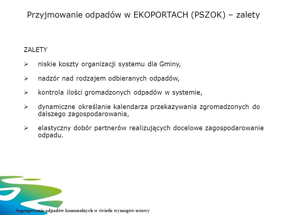 Przyjmowanie odpadów w EKOPORTACH (PSZOK) – zalety ZALETY niskie koszty organizacji systemu dla Gminy, nadzór nad rodzajem odbieranych odpadów, kontro