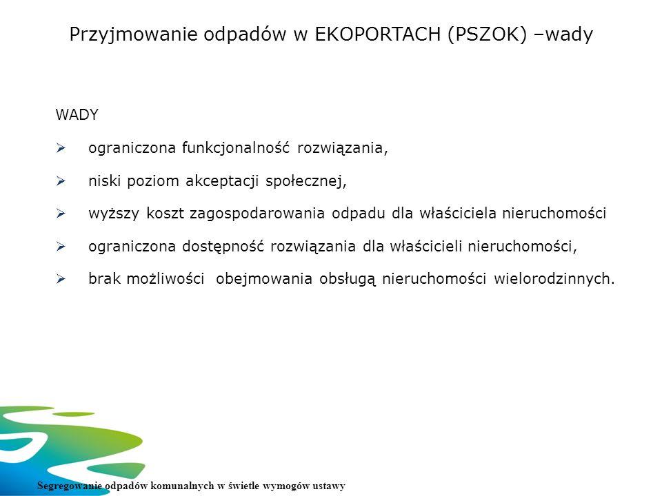 Przyjmowanie odpadów w EKOPORTACH (PSZOK) –wady Segregowanie odpadów komunalnych w świetle wymogów ustawy WADY ograniczona funkcjonalność rozwiązania,