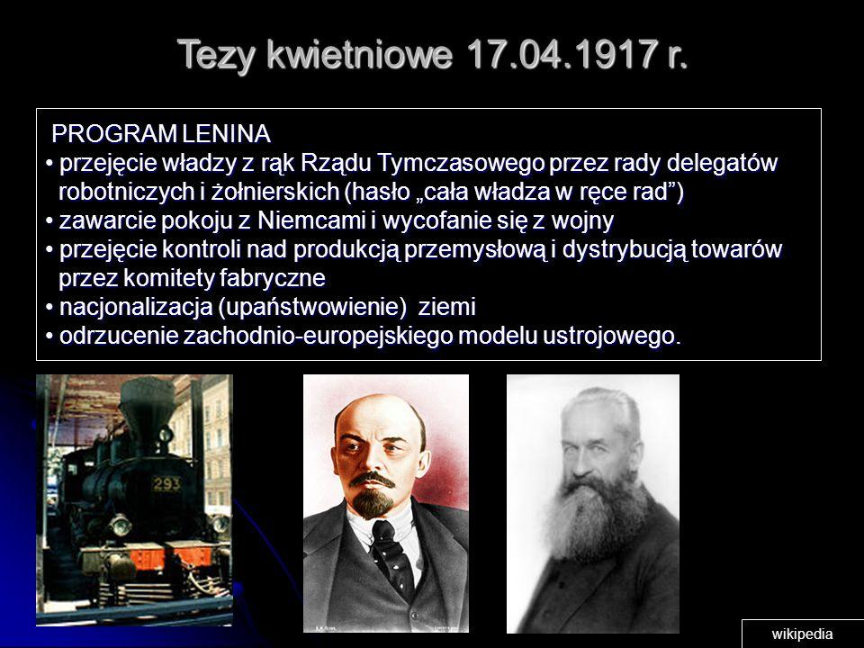 Tezy kwietniowe 17.04.1917 r. PROGRAM LENINA PROGRAM LENINA przejęcie władzy z rąk Rządu Tymczasowego przez rady delegatów przejęcie władzy z rąk Rząd