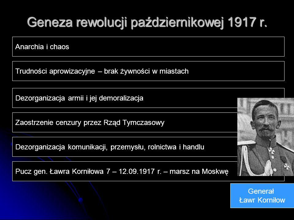 Geneza rewolucji październikowej 1917 r. Anarchia i chaos Trudności aprowizacyjne – brak żywności w miastach Dezorganizacja armii i jej demoralizacja