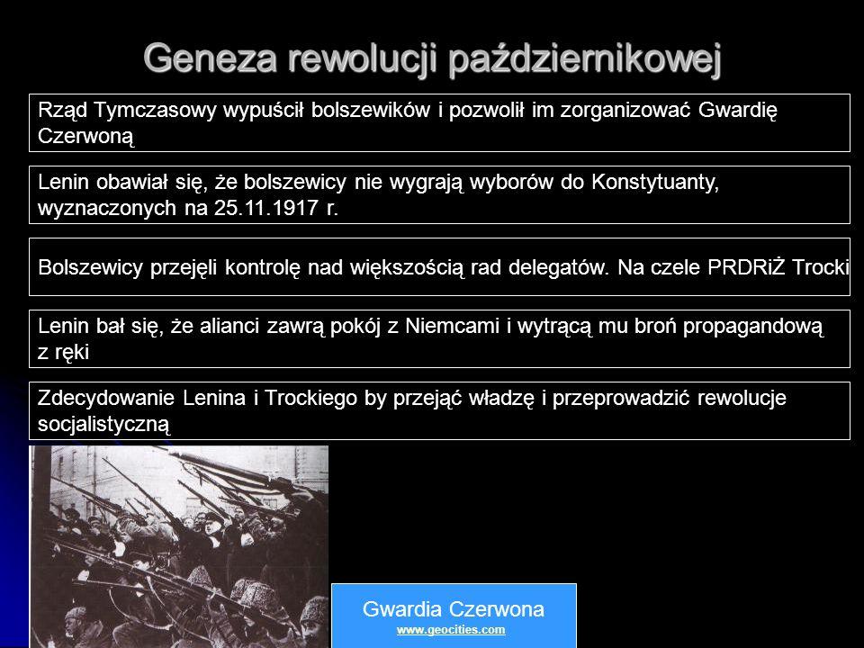 Geneza rewolucji październikowej Rząd Tymczasowy wypuścił bolszewików i pozwolił im zorganizować Gwardię Czerwoną Lenin obawiał się, że bolszewicy nie