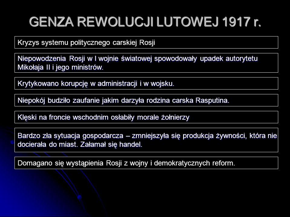 GENZA REWOLUCJI LUTOWEJ 1917 r. Kryzys systemu politycznego carskiej Rosji Niepowodzenia Rosji w I wojnie światowej spowodowały upadek autorytetu Miko