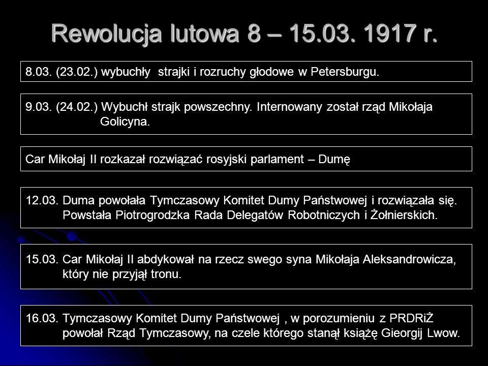 Rewolucja lutowa 8 – 15.03. 1917 r. 8.03. (23.02.) wybuchły strajki i rozruchy głodowe w Petersburgu. 9.03. (24.02.) Wybuchł strajk powszechny. Intern