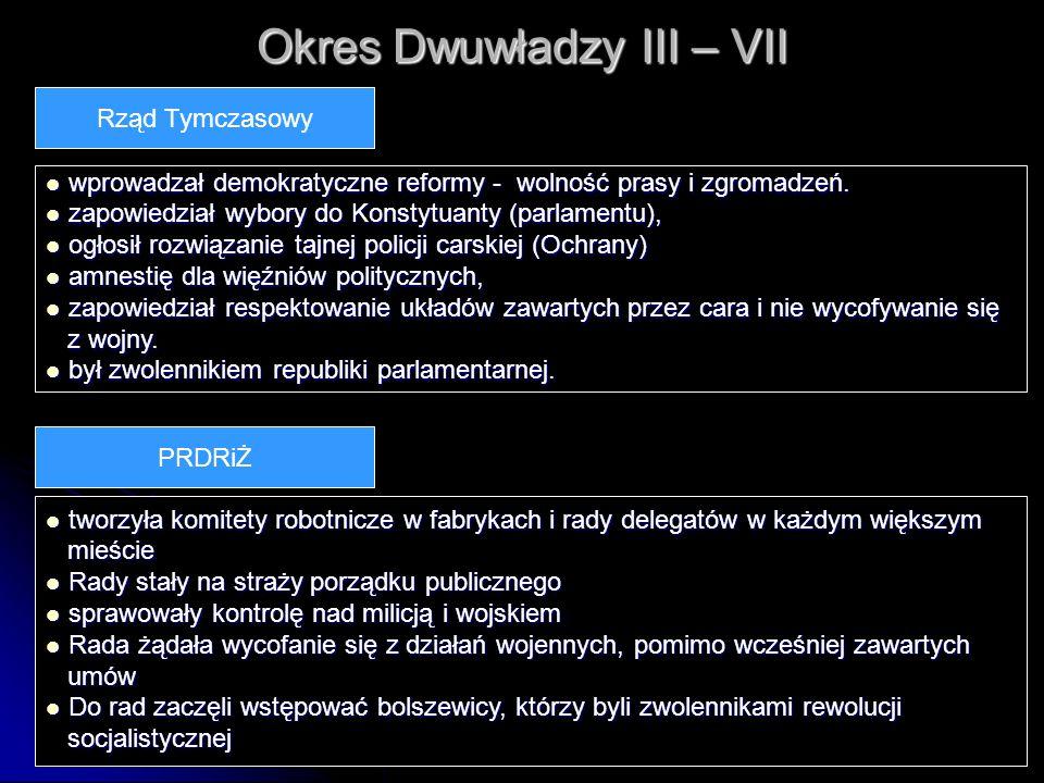 Okres Dwuwładzy III – VII wprowadzał demokratyczne reformy - wolność prasy i zgromadzeń. wprowadzał demokratyczne reformy - wolność prasy i zgromadzeń