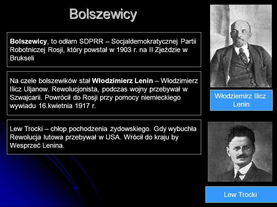 Bolszewicy Włodziemirz Ilicz Lenin Lew Trocki Bolszewicy, to odłam SDPRR – Socjaldemokratycznej Partii Robotniczej Rosji, który powstał w 1903 r. na I