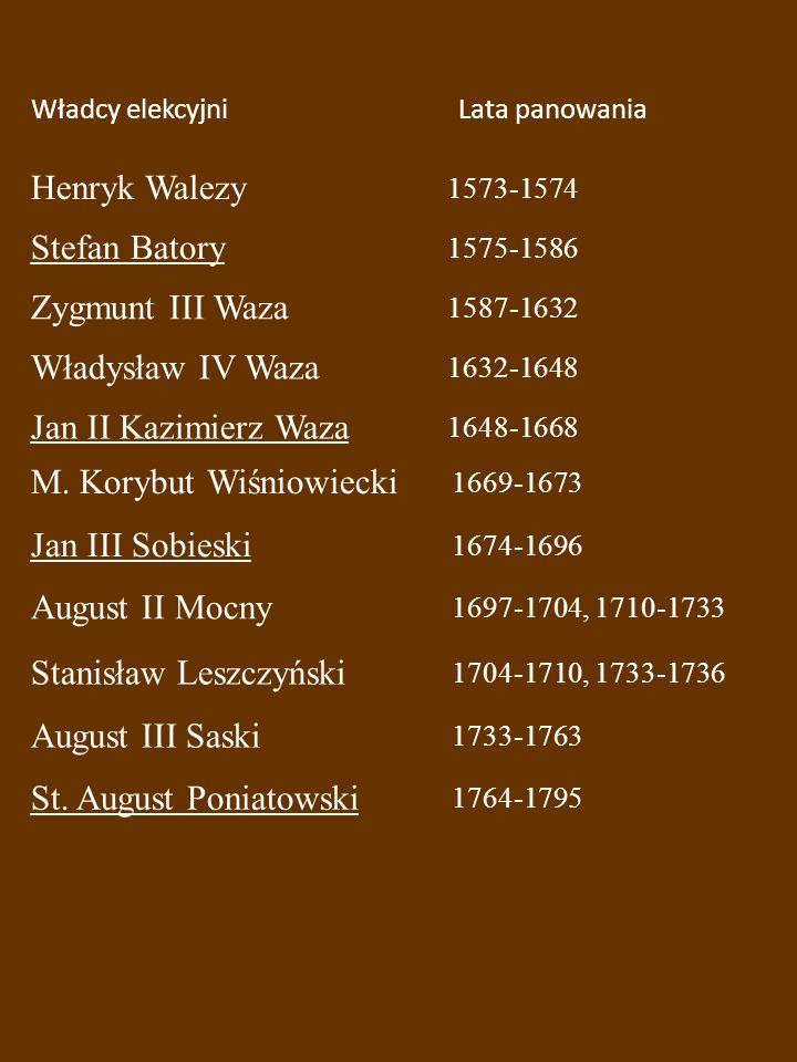Władcy elekcyjniLata panowania Henryk Walezy 1573-1574 Stefan Batory 1575-1586 Zygmunt III Waza 1587-1632 Władysław IV Waza 1632-1648 Jan II Kazimierz Waza 1648-1668 M.