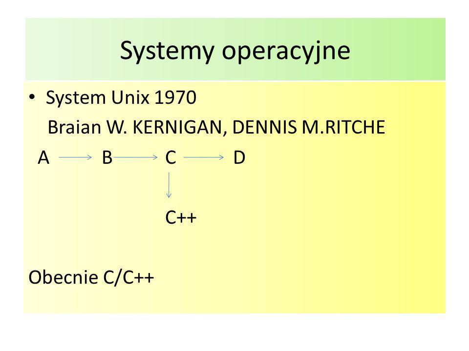 Systemy operacyjne System Unix 1970 Braian W. KERNIGAN, DENNIS M.RITCHE A B C D C++ Obecnie C/C++