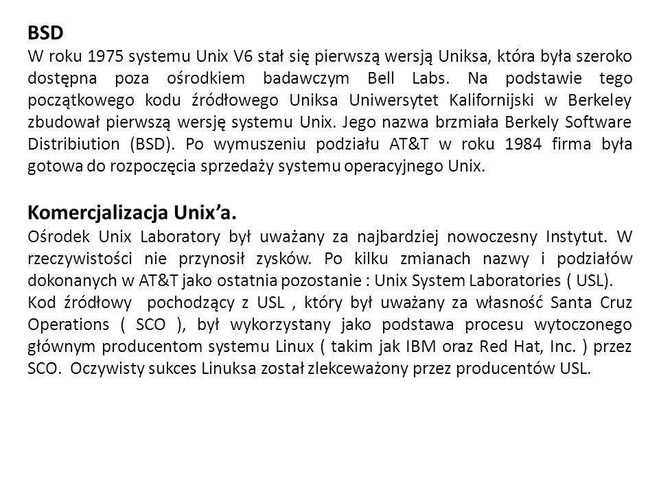 BSD W roku 1975 systemu Unix V6 stał się pierwszą wersją Uniksa, która była szeroko dostępna poza ośrodkiem badawczym Bell Labs.