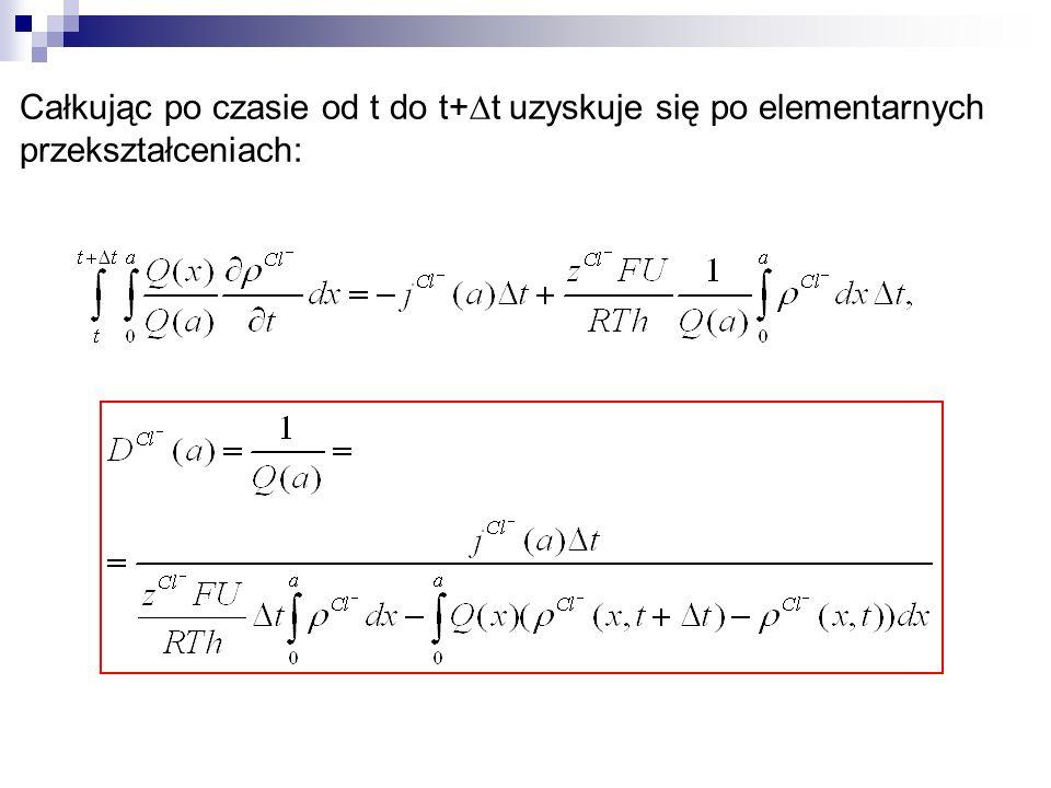 Całkując po czasie od t do t+ t uzyskuje się po elementarnych przekształceniach: