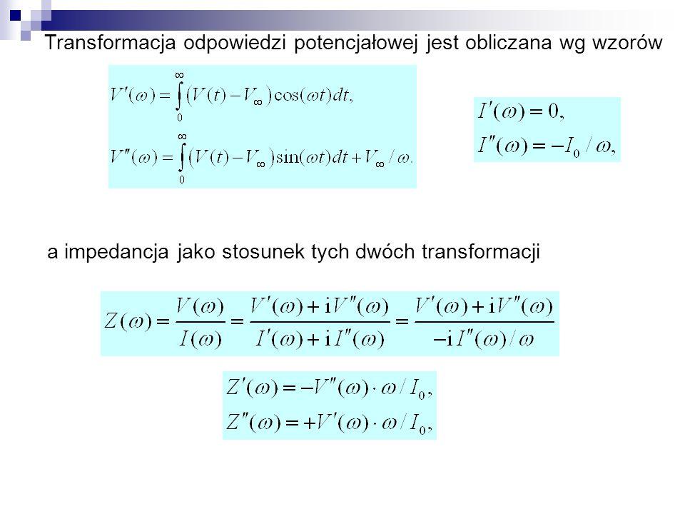 Transformacja odpowiedzi potencjałowej jest obliczana wg wzorów a impedancja jako stosunek tych dwóch transformacji