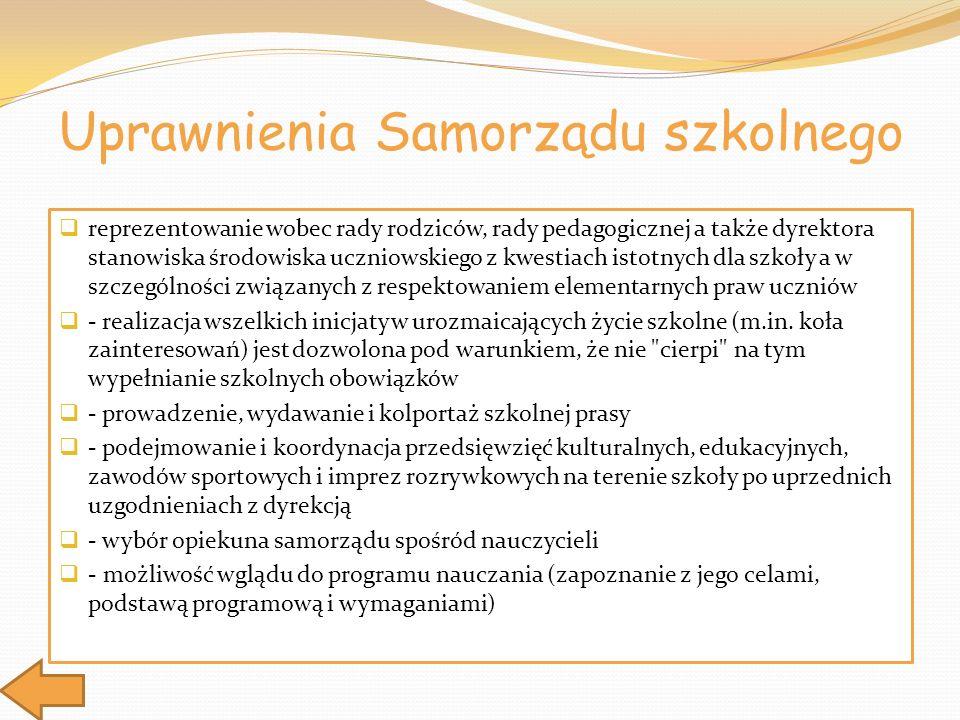 Uprawnienia Samorządu szkolnego reprezentowanie wobec rady rodziców, rady pedagogicznej a także dyrektora stanowiska środowiska uczniowskiego z kwesti