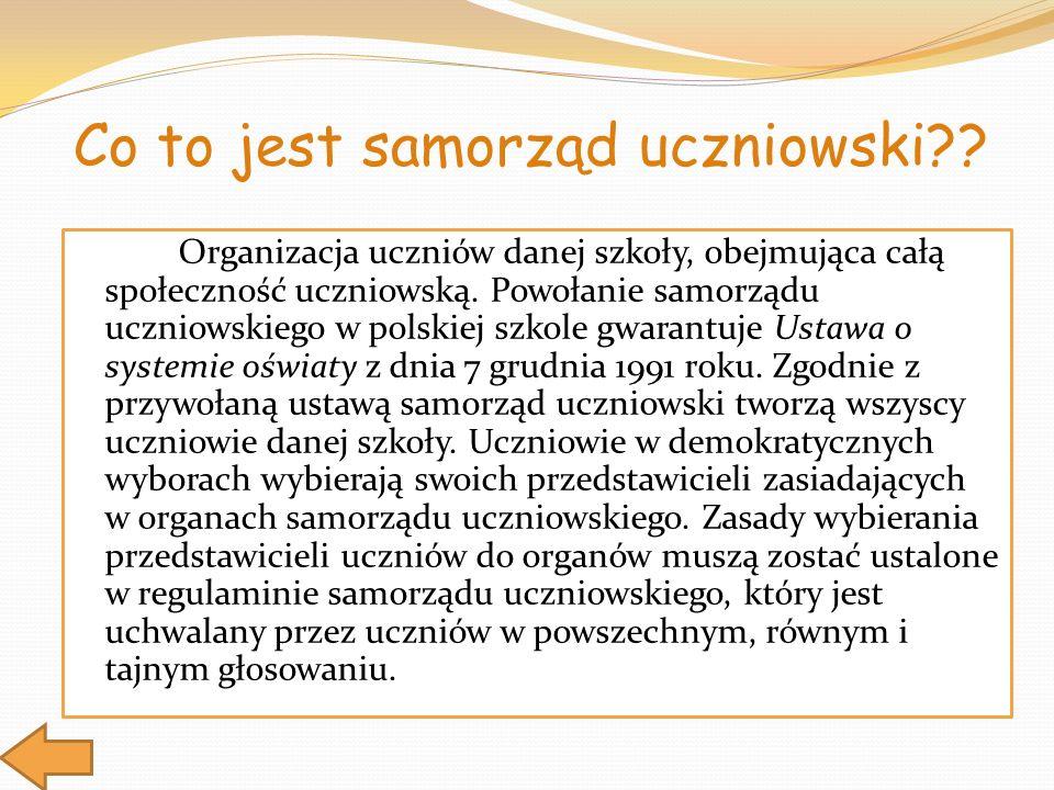 Organizacja uczniów danej szkoły, obejmująca całą społeczność uczniowską. Powołanie samorządu uczniowskiego w polskiej szkole gwarantuje Ustawa o syst