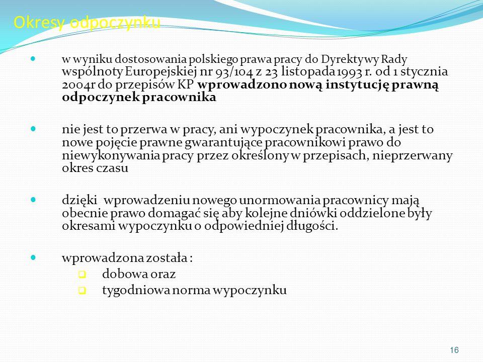 Okresy odpoczynku w wyniku dostosowania polskiego prawa pracy do Dyrektywy Rady wspólnoty Europejskiej nr 93/104 z 23 listopada 1993 r. od 1 stycznia
