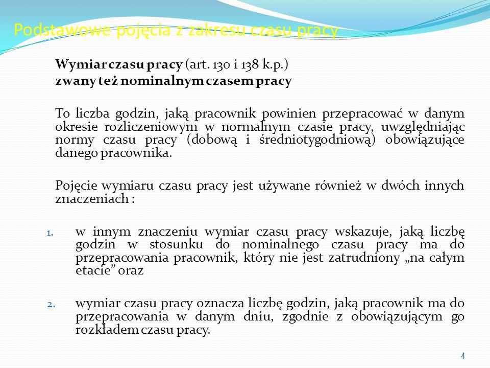 Podstawowe pojęcia z zakresu czasu pracy Wymiar czasu pracy (art.