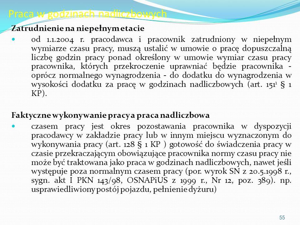 Praca w godzinach nadliczbowych Zatrudnienie na niepełnym etacie od 1.1.2004 r.