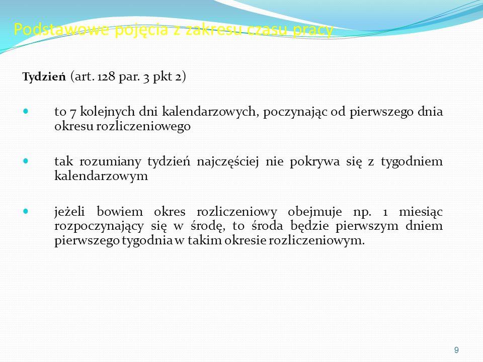 Podstawowe pojęcia z zakresu czasu pracy Tydzień (art. 128 par. 3 pkt 2) to 7 kolejnych dni kalendarzowych, poczynając od pierwszego dnia okresu rozli