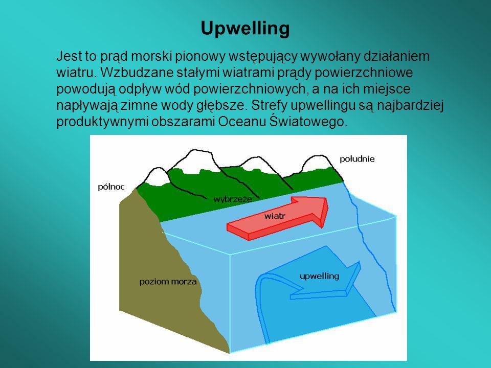 Upwelling Jest to prąd morski pionowy wstępujący wywołany działaniem wiatru. Wzbudzane stałymi wiatrami prądy powierzchniowe powodują odpływ wód powie