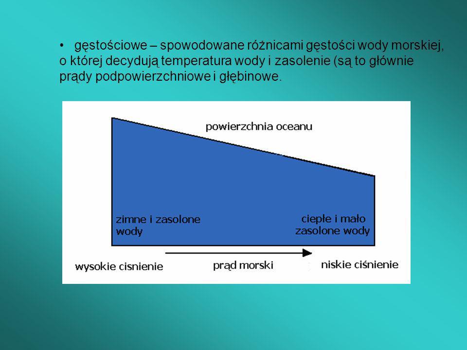 gęstościowe – spowodowane różnicami gęstości wody morskiej, o której decydują temperatura wody i zasolenie (są to głównie prądy podpowierzchniowe i gł