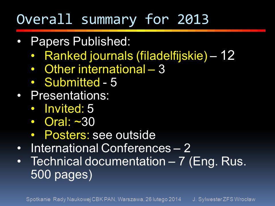 Overall summary for 2013 Spotkanie Rady Naukowej CBK PAN, Warszawa, 26 lutego 2014 J. Sylwester ZFS Wrocław Papers Published: Ranked journals (filadel