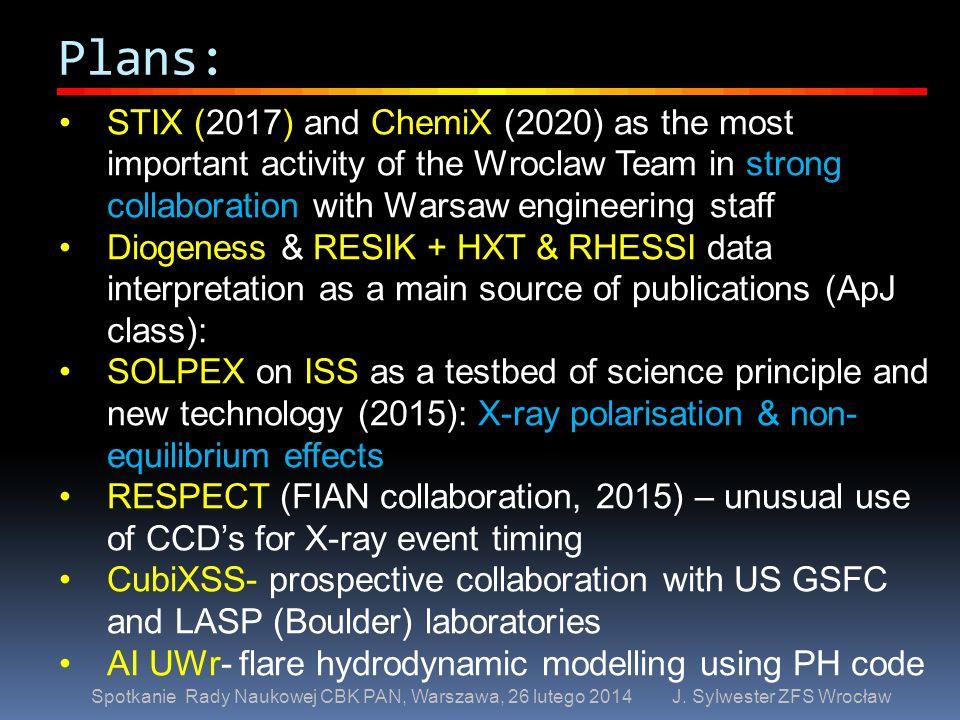 Plans: Spotkanie Rady Naukowej CBK PAN, Warszawa, 26 lutego 2014 J. Sylwester ZFS Wrocław STIX (2017) and ChemiX (2020) as the most important activity