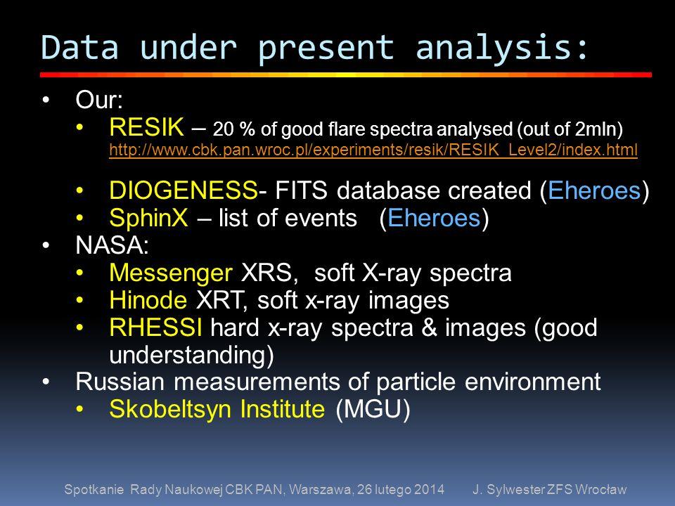 Data under present analysis: Spotkanie Rady Naukowej CBK PAN, Warszawa, 26 lutego 2014 J. Sylwester ZFS Wrocław Our: RESIK – 20 % of good flare spectr