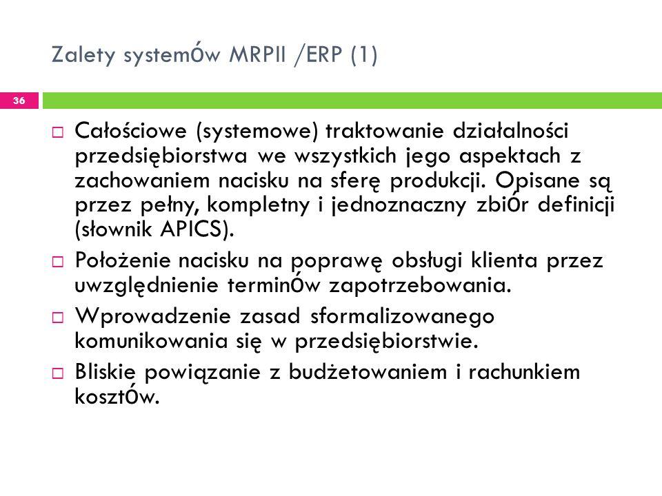 Zalety system ó w MRPII /ERP (1) 36 Całościowe (systemowe) traktowanie działalności przedsiębiorstwa we wszystkich jego aspektach z zachowaniem nacisku na sferę produkcji.