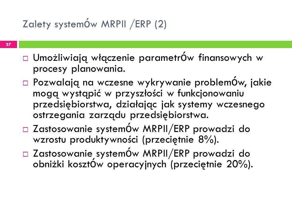 Zalety system ó w MRPII /ERP (2) 37 Umożliwiają włączenie parametr ó w finansowych w procesy planowania.