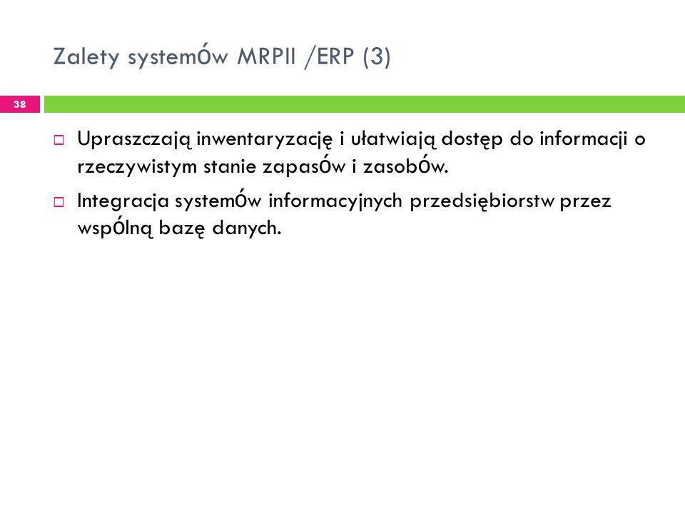 Zalety system ó w MRPII /ERP (3) 38 Upraszczają inwentaryzację i ułatwiają dostęp do informacji o rzeczywistym stanie zapas ó w i zasob ó w.