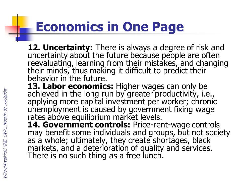 Witold Kwaśnicki (INE, UWr), Notatki do wykładów Economics in One Page 12.