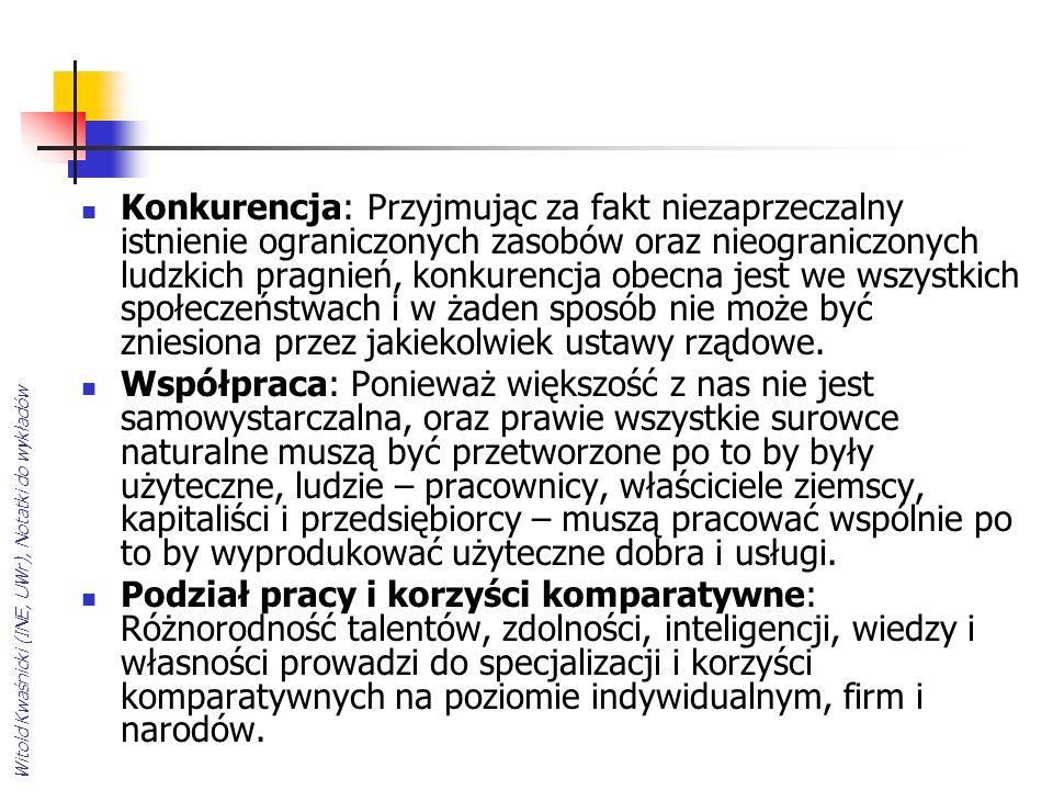 Witold Kwaśnicki (INE, UWr), Notatki do wykładów Konkurencja: Przyjmując za fakt niezaprzeczalny istnienie ograniczonych zasobów oraz nieograniczonych ludzkich pragnień, konkurencja obecna jest we wszystkich społeczeństwach i w żaden sposób nie może być zniesiona przez jakiekolwiek ustawy rządowe.