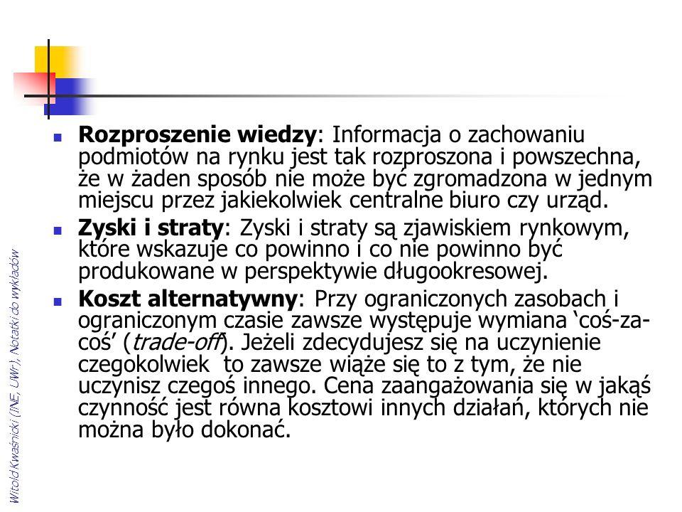 Witold Kwaśnicki (INE, UWr), Notatki do wykładów Rozproszenie wiedzy: Informacja o zachowaniu podmiotów na rynku jest tak rozproszona i powszechna, że w żaden sposób nie może być zgromadzona w jednym miejscu przez jakiekolwiek centralne biuro czy urząd.